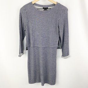 Topshop Striped Cropped Layered Dress Size 2
